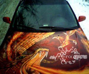Аэрография Красный Дракон на машине