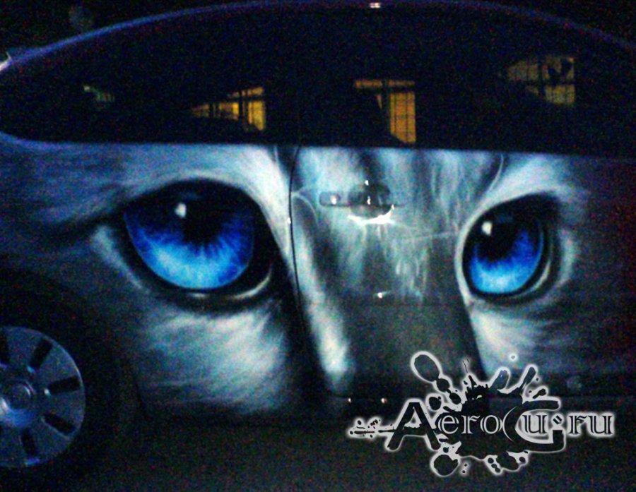 Аэрография Кошка на машине